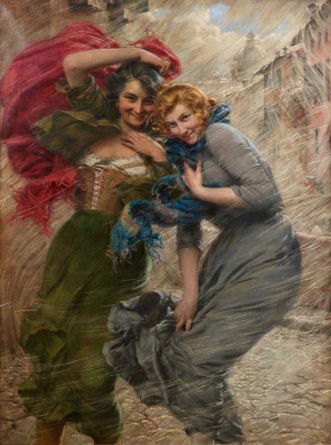 Giornata di pioggia (Rainy day)  *oil on canvas *151.5 x 111 cm *signed t.l.: Modena / 1919. Bellei G.